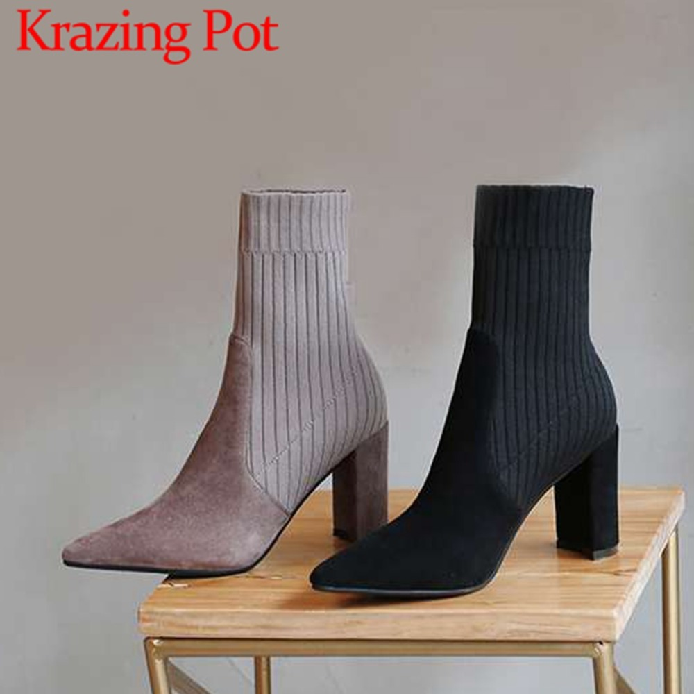 Krazing pot elegant lady oxford pointed toe high fashion kid suede slip on high heels solid knitting stretch mid-calf boots L85 krazing pot 2018 flannel solid peep toe slip on fashion runway lady superstar wedges autumn spring lazy style mid calf boots l33