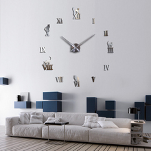 new arrive mirror effect Affordable Modern style still life DIY home decoration wall stickers quartz Study Circular clock