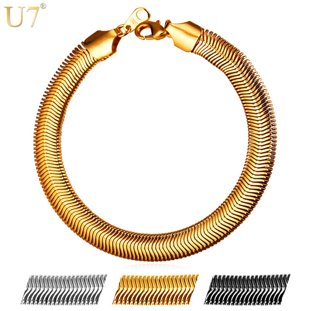 U7 New Hot Snake Chain Bracelet Men Jewelry Whole Gold Color Stainless Steel 21cm Link