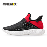 ONEMIX Men Red Lightweight Running Shoes Soft Rebound Casual Shoes Comfortable Sneakers Breathable Mesh Upper Trail Trainers