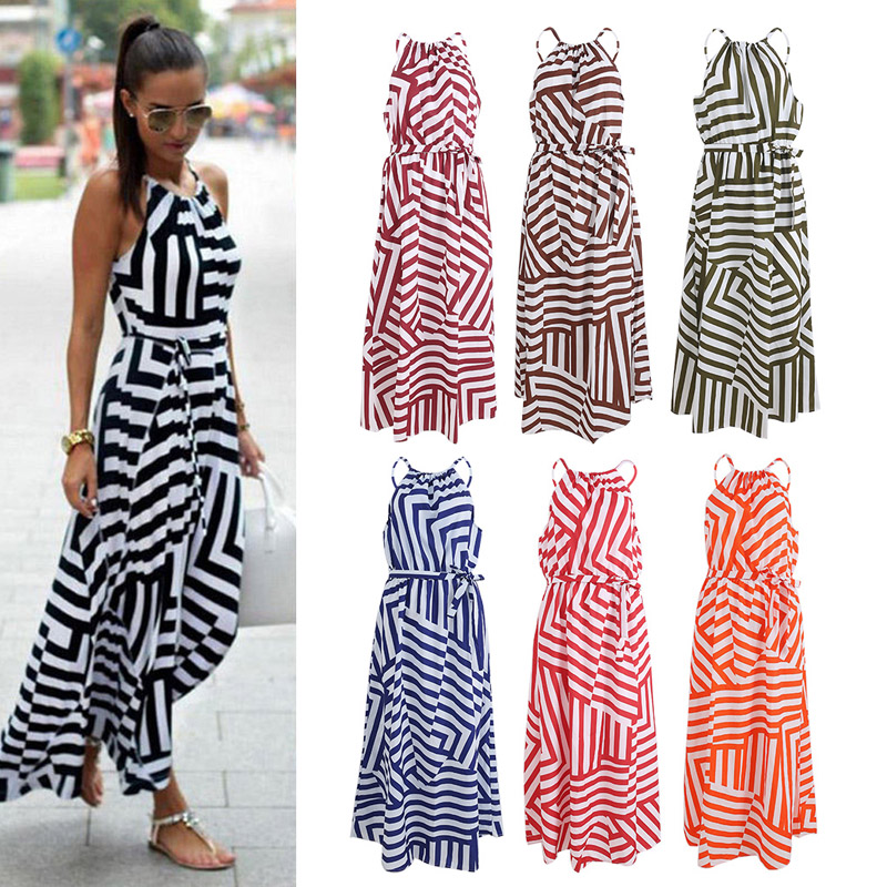 Women Summer Long Dress Sexy Casual Geometric Print Boho Long Maxi Beach Dress Evening Party Bodycon Dress Sundress
