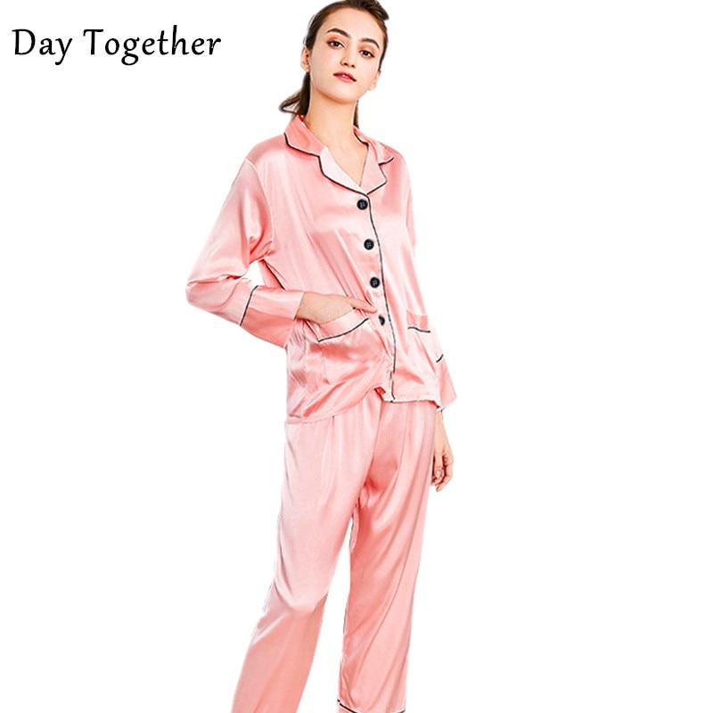 Summer Pigamas Mujer Soft Silk Long Sleepwears For Female Pijama Silk Ladies Pink Navy White Satin Sleepwear Women pyjamas