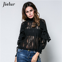 Spring Summer Stand Collar Lady T Shirt Elegant Lotus Sleeves Sexy Perspective Lace Women S Shirt