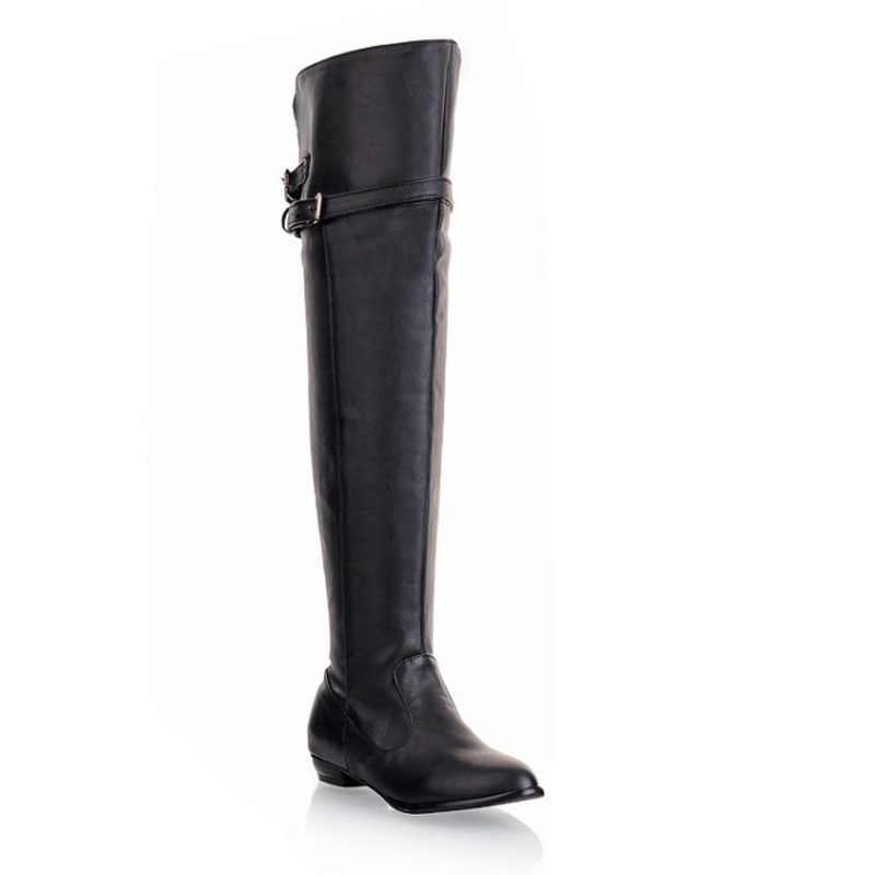 Женские сапоги выше колена теплые сапоги с пряжкой на ремешке облегающие теплые зимние сапоги до бедра на танкетке для женщин Botas Mujer большие размеры WSH2171