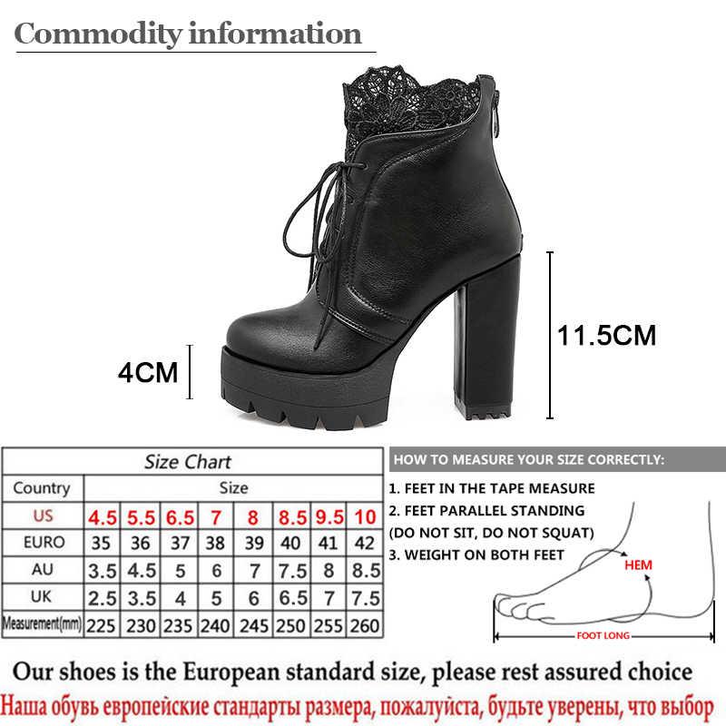 Prova perfetto 2019 Sonbahar Kadın Bağlama Platformu Çizmeler Yüksek Topuklu Kadın Siyah Platform Topuklu Bahar kısa çizmeler Bayan Ayakkabıları