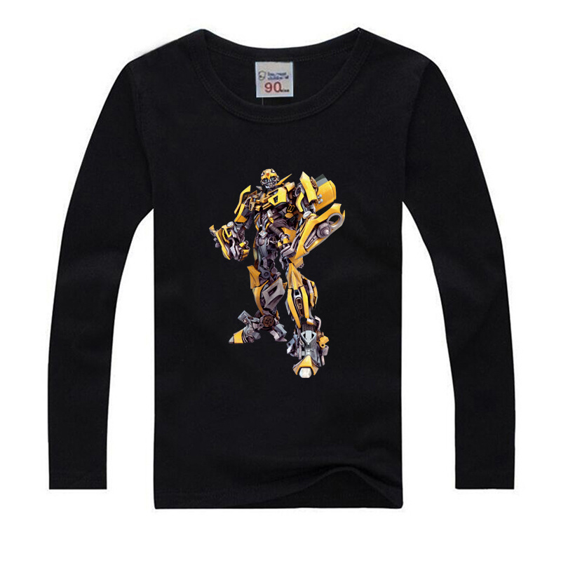 Robot T-shirts for Boys Kids Summer Clothes Cartoon Print Tops Tees White Long sleeve T Shirt for Kids Transformer Costumes1-9y цена и фото