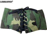 LAISIDANTON Brand Camouflage Belt For Women Ultra Wide Lace Up Elastic Belt Bow Tie Woman Canvas
