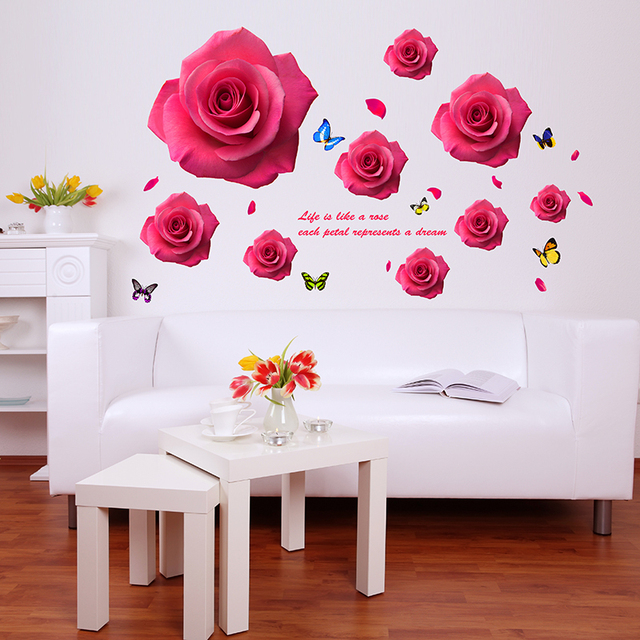 Shijuehezi romantic red flower wall sticker rose butterflies wall decals for home decor living