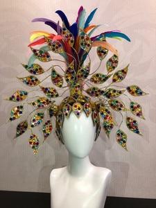 Image 3 - Brazil Rio Spanish Cuba Santiago Havana Venice Dionysia carnival Float Mask dress masque ball costume samba plumage plume Headd