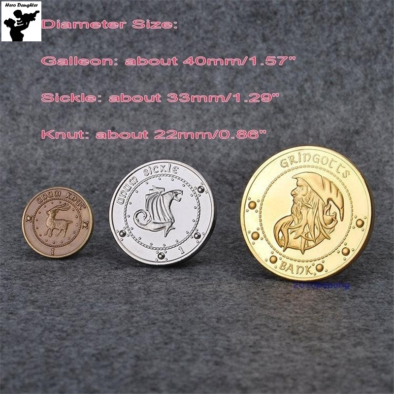 Gringotts Galleons Sickels Knut Cosplay Coin Toy Cartoon Magic World Juguetes Kids Gift               for Harri Potter Cosplay