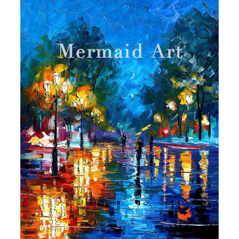 Hand Painted Landscape High Quality Abstract Palette font b Knife b font Night Park Oil Painting