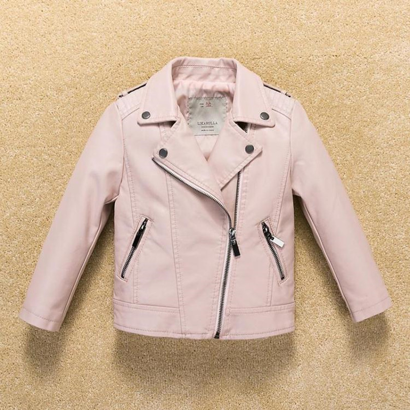 Kids Infant Jacket Coat 2017 PU Leather Girls Jackets Clothes Children Outwear For Baby Girls