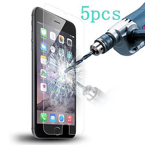 5 pack protector de pantalla, vidrio templado 99% exacto borde redondo 0.3mm ultra claro ajuste perfecto para iphone 6 6 s (4.7-inch) ([5-pack])