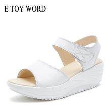 E TOY WORD Summer womens sandals White/Black Wedge Open Toe Sandals Women Breathable Sandals Platform Sandalias Mujer 2019 summer stripe knitted platform women sandals sexy open toe comfortable low heels black beige red blue purple sandalias mujer