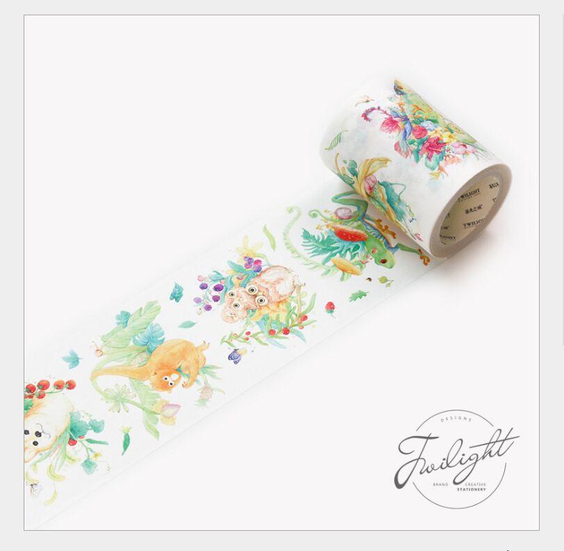 60mm Dream Reverie Green Plants Flower& Animal Cat Frog Owl Dog Fox Rabbit Washi Tape DIY Planner Diary Scrapbookin Masking Tape