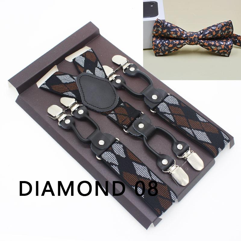 Men\'s Suspenders Casual Fashion Braces Bowtie Sets Elegant Black Leather Shirt Suspenders Adjustable 6 Clip Belt Strap Dad Gift