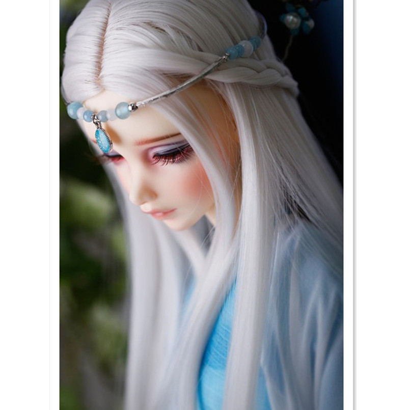 BEIOUFENG 1/3 1/4 Bjd Sd Doll Wigs High Temperature Wire Fashion BJD Super Dollfile Hair Wig for Dolls,Long Straight Doll Hair
