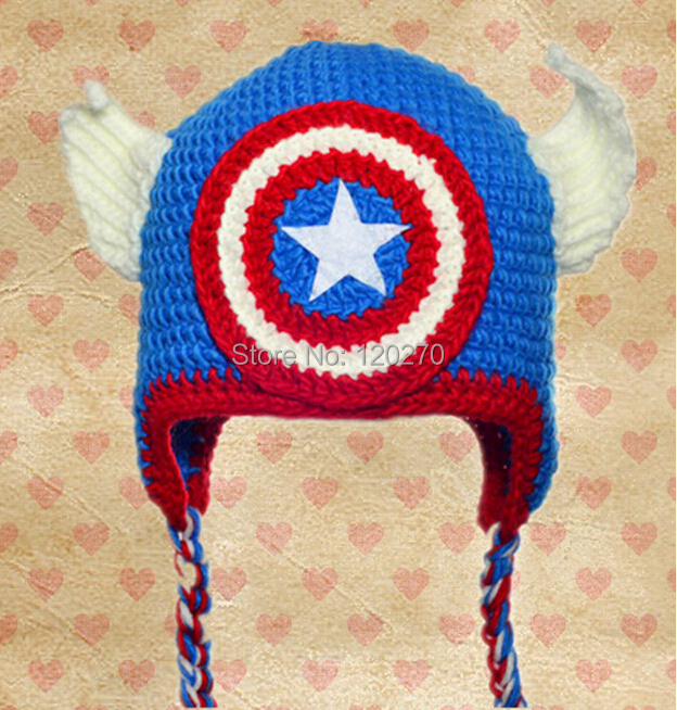 2016 New Design Captain America Super Hero Movie Cartoon Character Crochet  Knitted Baby Boys Girls Hat Children Beanie Cotton ff9f124a8d2
