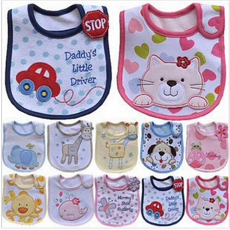 Baby Bibs Cute Cartoon Pattern Toddler Baby Waterproof Saliva Towel Cotton Fit 0-3 Years Old  Infant Burp Cloths Feeding Baby 2 layers newborn cartoon colorful baby boy girl bibs infant soft cotton toddler animal burp cloth waterproof saliva scarf towel