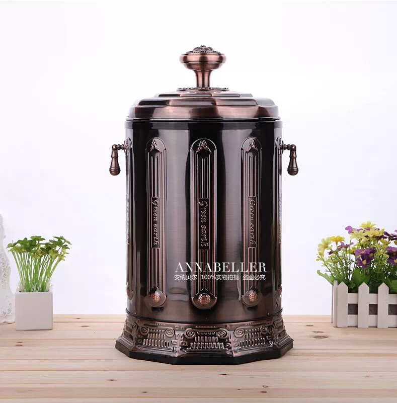application European style plated with floral pedal buckets trash trash can waste bins trash bingarbage bin Red bronze LJT007