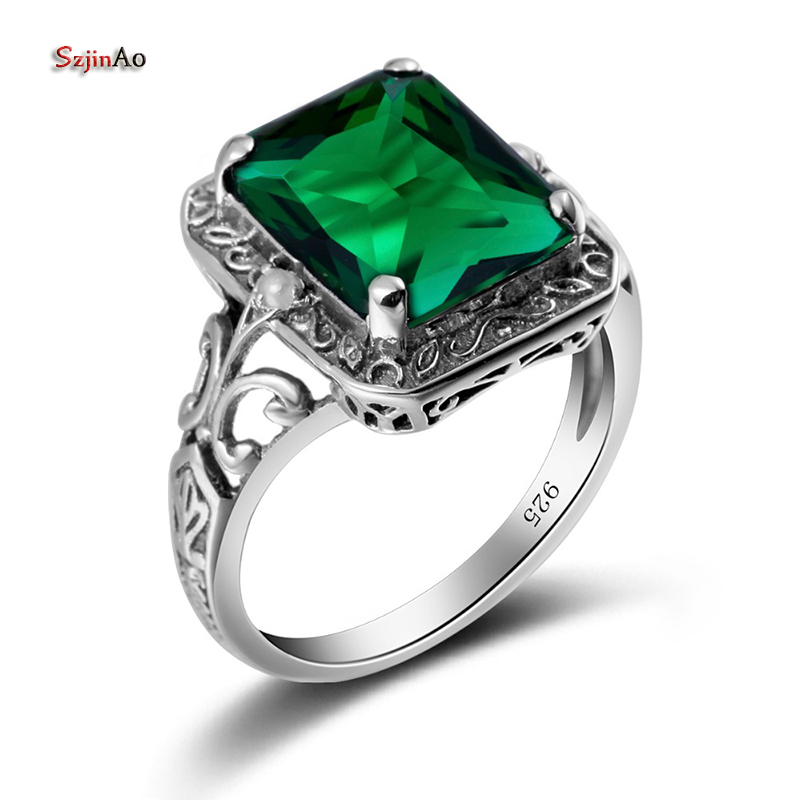 Szjinao Cool Green Emerald Finger Jewelry Womans Engagement Ring Vintage Punk Anniversary Gift 925 Sterling Silver Bague FemmeSzjinao Cool Green Emerald Finger Jewelry Womans Engagement Ring Vintage Punk Anniversary Gift 925 Sterling Silver Bague Femme