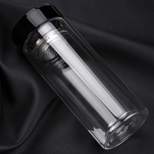 1PC New Hot 300ml water bottle double layer glass heat resistant transparent glass with infuser water bottle KD 1461