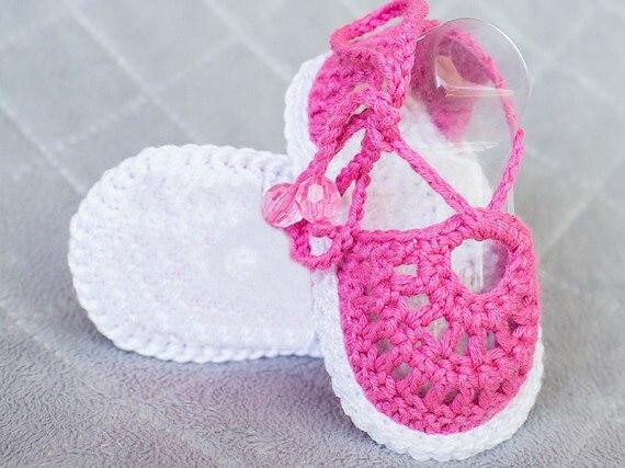 Crochet Sandals, Ganchillo Bebé Sandalias, Botines Del Bebé Del Ganchillo,  Zapatos de Bebé