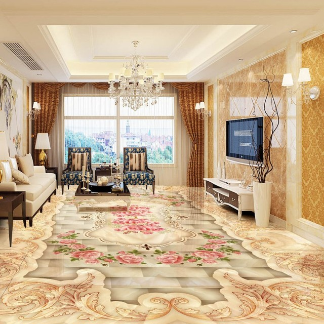 Free Shipping Photo High Definition Fine Elegant Marble Art Parquet 3D Floor Living Room Chinese