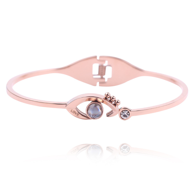 Charm Bracelets 100 Languages I Love You Memory Bracelet Rose Gold Creative Projection Jewelry Christmas Gifts