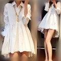 [soonyour]Hot spring and summer 2017 women's chiffon white black dress shirt collar irregular fashion women refuse 4XL B0180M