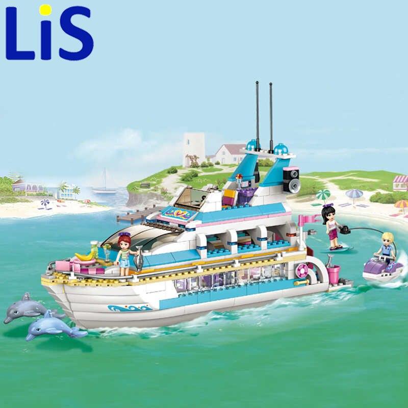 (Lis)10172 Bela Friends Girl Dolphin Cruiser Vessel ship Building Blocks Big Set Compatible with gift bricks Kid Toy