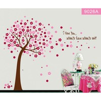 Pretty Tree Wall Stickers Flowers Wall Paper Cherry Tree Flower Home Decors For Living Room Bedroom 9026
