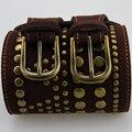 Primavera Verão 2017 New Vintage Mulheres cinturones Cinto Duplo Fivelas Cintos Cowskin Genuíno Rebite Couro Falso Acessórios de Vestuário