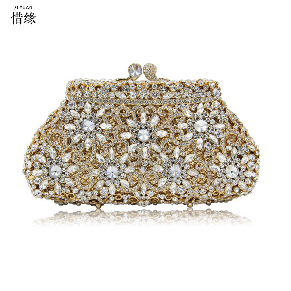 XIYUAN BRAND Fashion Designer Minaudiere Beaded Evening Bags Women Wedding Bridal Golden Crystal Diamond Clutch Banquet bag