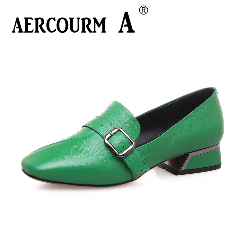 Aercourm A 2018 Spring Woman Genuine Leather Shoes Pumps Lady High Heels Shoes Square Toe Brand Shoes Metal Button Green LZ6024 aercourm a women black pumps 2018 spring high heels shoes woman shoes genuine leather square head rivet pointed shoes dtn8 1
