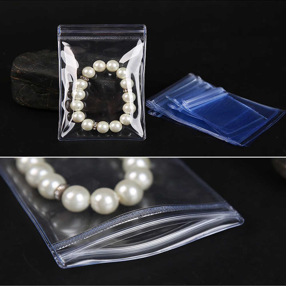 100Pcs Reclosable Zip Lock PVC Anti-oxidation Bag Jewelry Packaging Plastic Bag Rings Jade Pearl Anti-tarnish Packing Zip Pouch