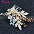 Opal Rhinestone and Enamel Leaf Gold Wedding Hair Comb Bridal Hair Accessories Jewellery Haircomb