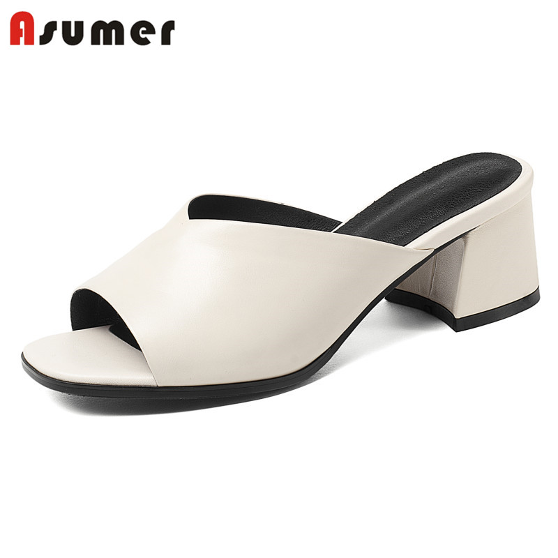 ASUMER Size 34-41 New fashion genuine leather slip on women sandals square heel simple summer solid beige black ladies shoes inc new solid deep black women s size 2 tapered leg two pocket pull on pants $69