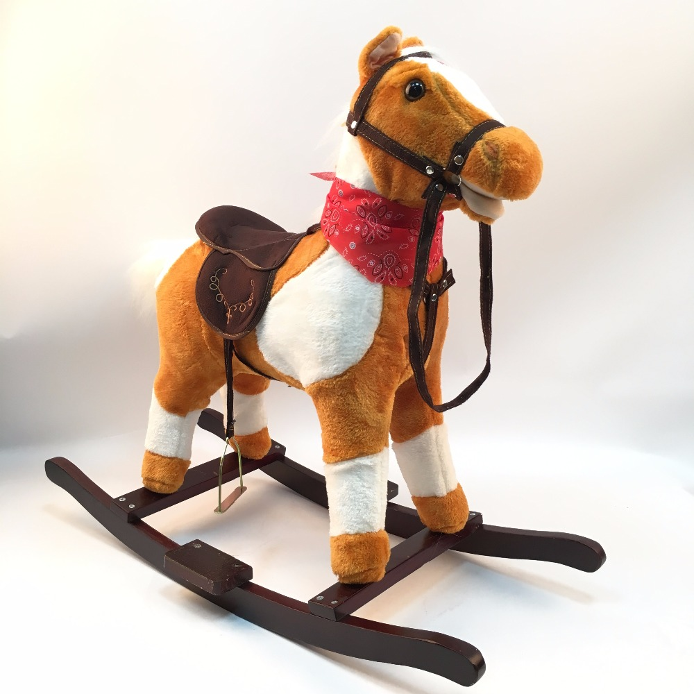 Happy life!!!3 8 Years Mechanical Rocking Walking Horse Riding Toy For Kids Music Pony Toys Birthday Children Gifts for Boy Girl