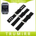 22mm faixa de relógio de borracha de silicone para samsung gear 2 r380 r381 r382 moto 360 2 46mm grande fecho de aço inoxidável strap relógio de pulso pulseira