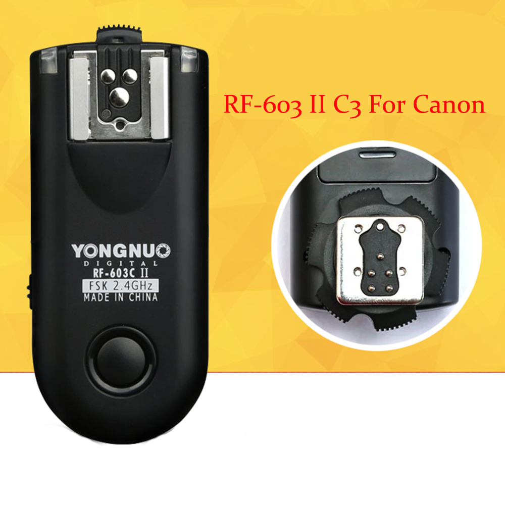 Yongnuo Upgrade RF-603 II C3 Wireless Flash Trigger 2 Transceivers for Canon Canon 1D/1DS 5D Mark II/5D/7D/50D/40D/30D/20D/10D 2 4g wireless timer remote control shutter release for canon 1dx 1ds 5ds 6d 7d 50d 40d 5d4 5d3 5d mark iv iii 6d mark ii rs 80n3