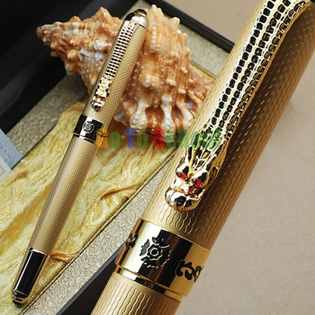 JINHAO 1000 GOLDEN DRAGON MESH M NIB FOUNTAIN PEN WITHOUT ORIGINAL BOX FREE SHIPPING