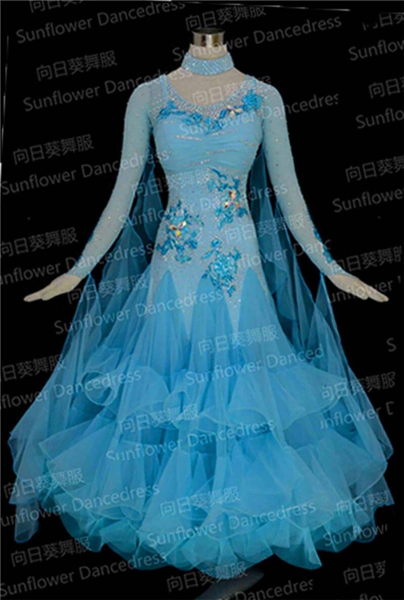 US $17.17 11717% New Competition organza ballroom Standard dance dress,dance  clothing,stage wear,ballom dance wear,Waltz,blue colorwear
