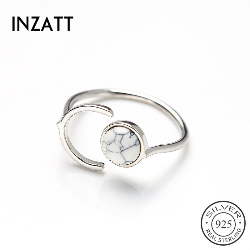 INZATT Real 925 Sterling Silver Minimalist Letter C Semicircle Turquoise Adjustable Ring Fine Jewelry For Women Accessories Gift