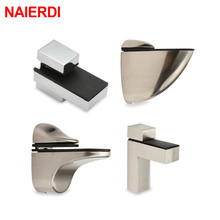 NAIERDI Zinc Alloy Adjustable Glass Clamps Plated Brackets Chrome Shelf Holder Support Clamp Shelves