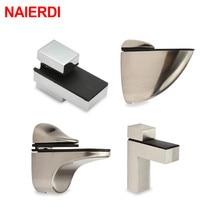 NAIERDI Zinc Alloy Adjustable Glass Clamps Glass Plated Brackets Chrome Alloy Shelf Holder Support Clamp Holder Glass Shelves