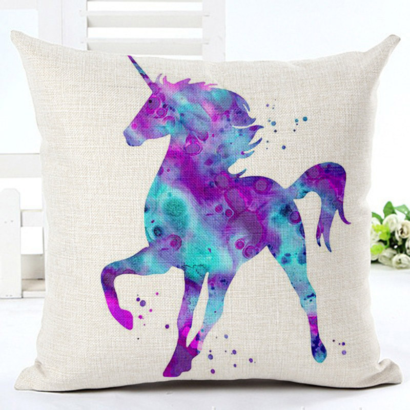 Smiry Nordic Starry Linen Blend Sofa Cushion Cover Fancy Unicorn