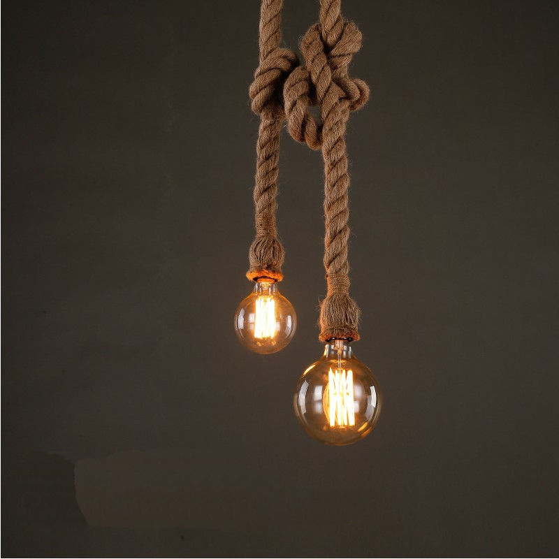 Loft Hemp Rope Pendant Lights Vintage Retro Industrial Hanging Lamp For Living Room Kitchen Home Light Fixtures Decor Luminaire