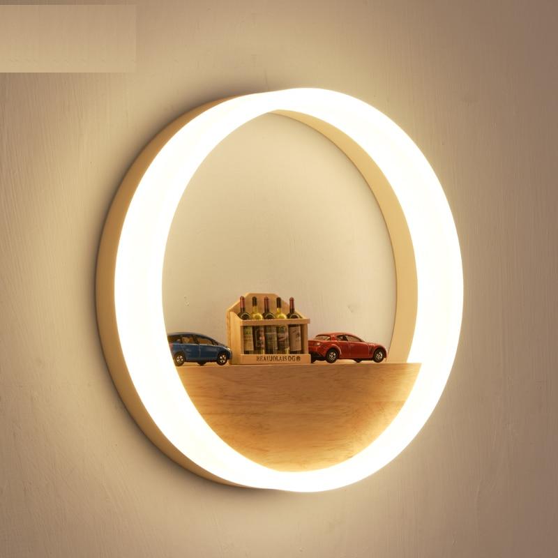Creative Led Wall Lamp LED Sconce Light Acrylic Modern Wooden Luminarine wall Light for Bedside Bedroom/Dinning Room/Restroom