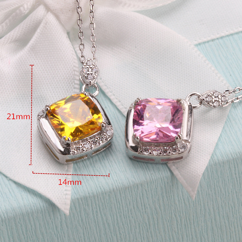 925 Silver Color Stone Necklace Women 9mm Big Stone and Small Shiny Zircon Fashion Necklace for Women Wedding Jewelry in Chain Necklaces from Jewelry Accessories